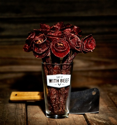 I want to make fun of these beef jerky roses, but I kind of love them. By (who else?) SayItWithBeef