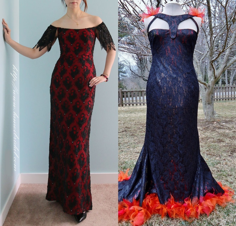 Not all lace overlay is created equal. I can easily imagine the beauty on the left by LAmei on stage presenting an award. But the thing on the right looks better suited to a witch burning.