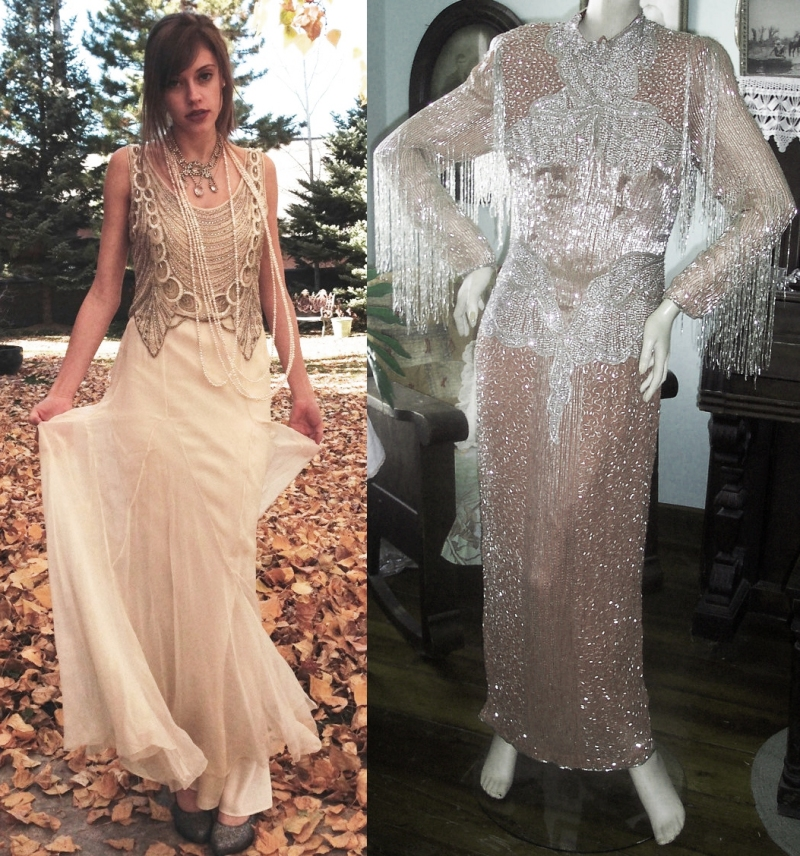 At a little over a thousand dollars, this original 1930s beaded silk gown sold by WhyNaughtShop is a strong contender for best costume! But the best thing you can say about the situation on the right is that wearing it is probably good exercise. Looks like it weighs a ton!