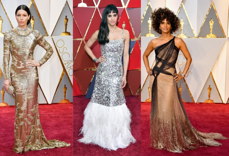 Heavy metallics are back in a big way, which I though both Jessica Biehl and Halle Berry both rocked! However, Chanel or not, I really didn't care for Sofia Boutella's silver dress.