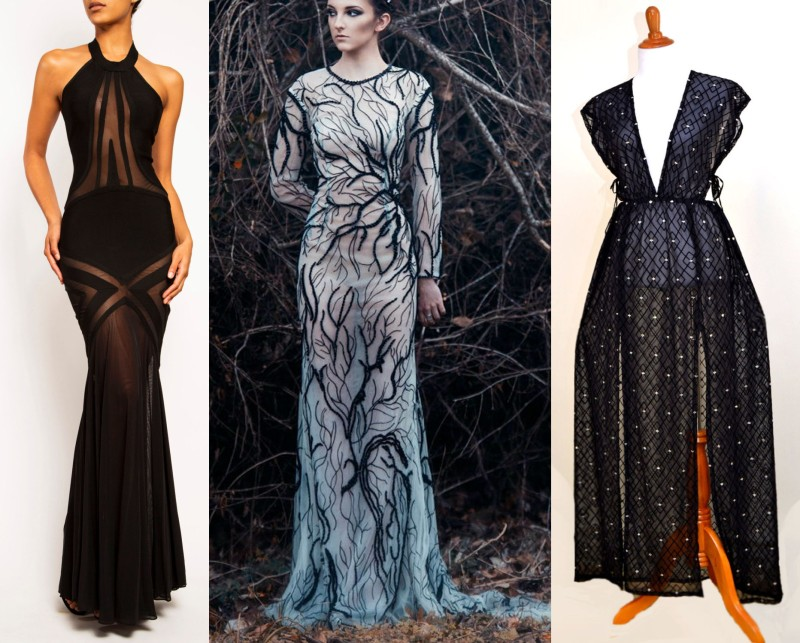 """I'm not 100% sure you wouldn't get into the weeds with the fashion press with the gown on the left by FROCKLosAngeles, but I like it anyway! The gown in the middle is from our friends at CouturePoetry, and I'm obsessed as always! And that boxy thing on the right is listed as """"runway ready."""" Do you think this is what they mean by runway?"""
