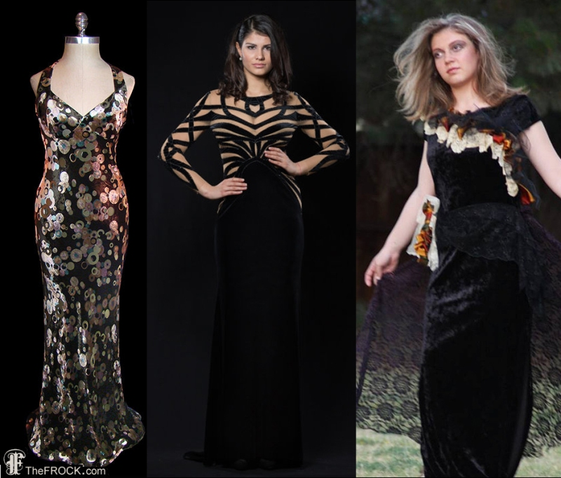 """This vintage velvet Emanuel Ungaro sold by TheFrockDotCom would make a big splash on the red carpet. So, I think, would this solid-and-sheer number by Tonena. The disaster on the right is called """"upcycled romantic."""" Draw your own conclusions about the designer's romantic life."""