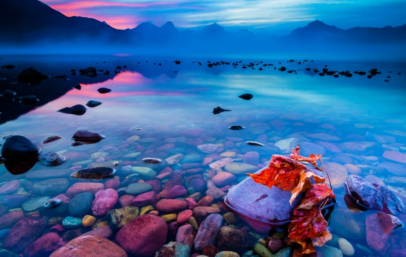 Autumn sunrise on Lake McDonald - Glacier National Park, Montana